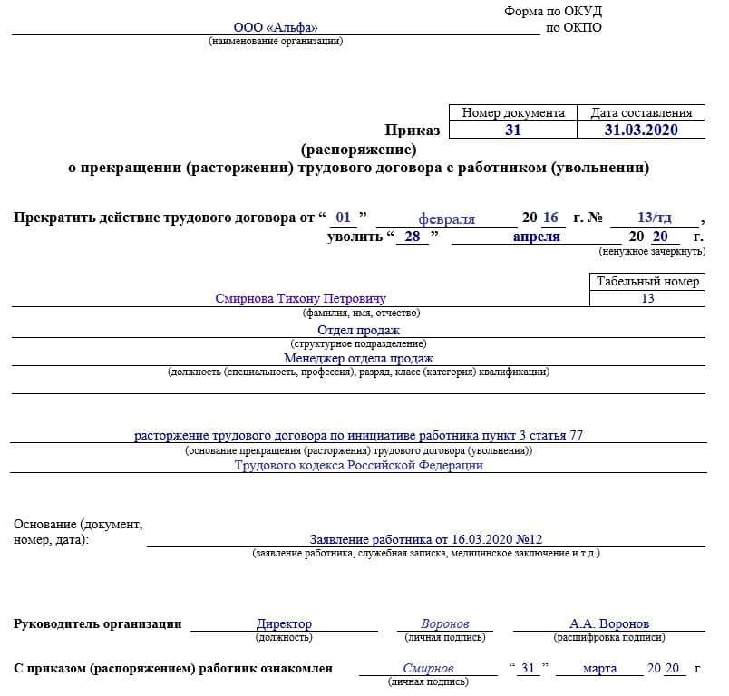 Правила оформления приказа об отпуске с последующим увольнением + образец
