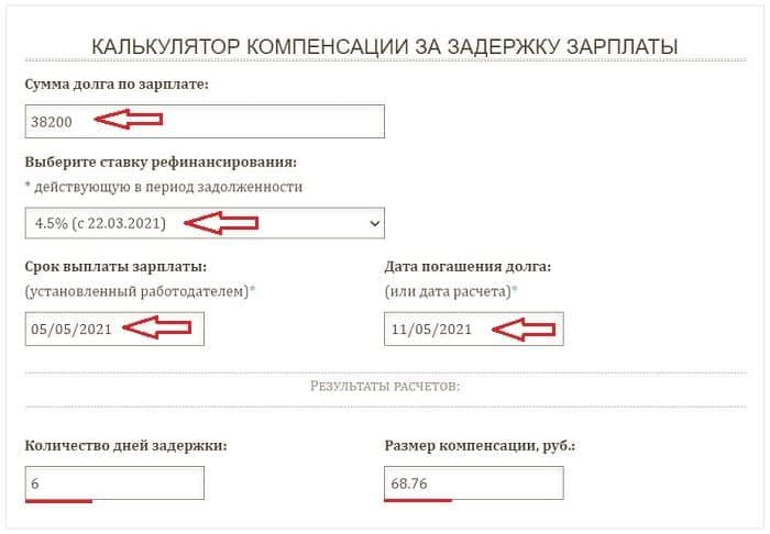 Онлайн калькулятор компенсации за задержку заработной платы - примеры расчета