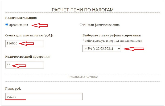 Онлайн калькулятор для расчета пени по налогам - примеры и формулы