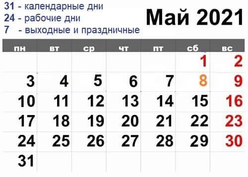 Как рассчитать и выплатить зарплату за май 2021 года с учетом нерабочих и праздничных дней?